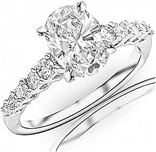 0.95 Carat t.w. Oval Cut 14K White Gold Classic Prong Set Side Stone Diamond Engagement Ring (I-J Color VVS1-VVS2 Clarity)