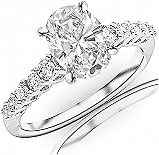 0.95 Carat t.w. Oval Cut 14K White Gold Classic Prong Set Side Stone Diamond Engagement Ring