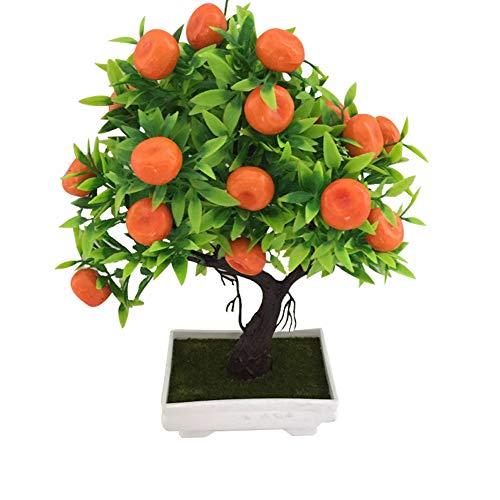 lanskou 1Pc Artificial Orange Tree Bonsai Realistic Fake Plant with Pot for Party Home Office Garden Decoration 18cm x 30cm