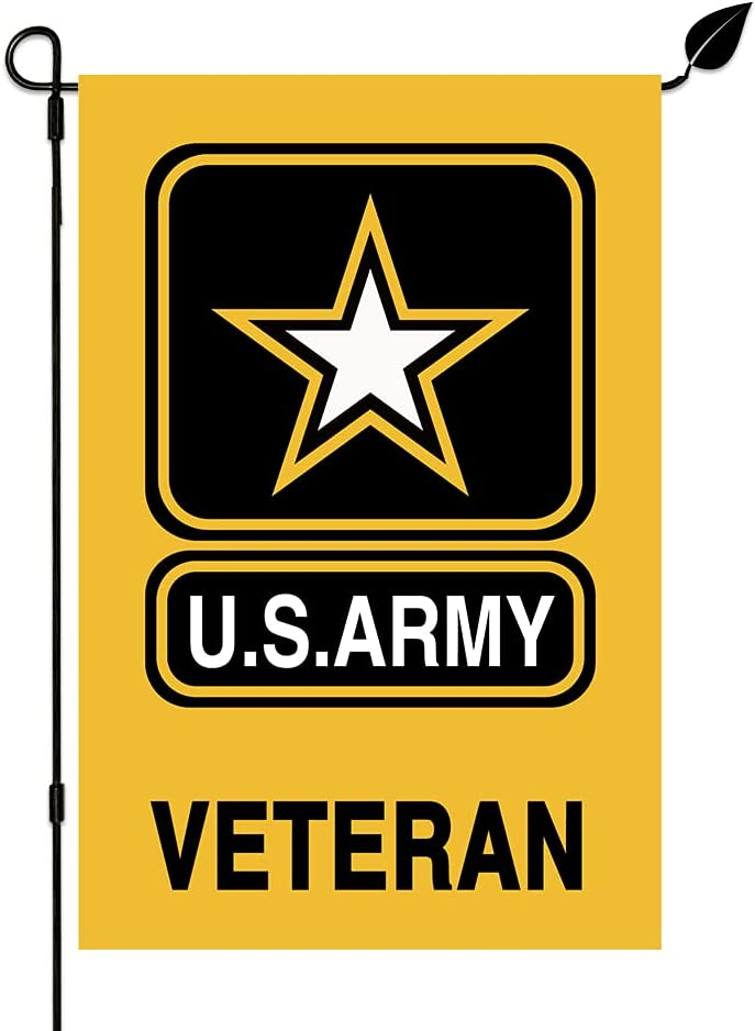 KINNYOBI-US Indefinitely Army Veteran New product Garden Flag - Color Fade and Proo Vivid