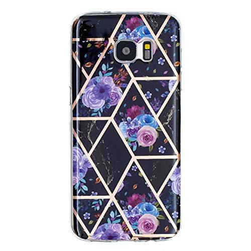 Miagon Geometric Marble Marbre Coque pour Samsung Galaxy S7 Edge,Galvanisé Svelte Doux Souple Silicone Gel Case Bumper Cover Étui Housse pour Filles,Bleu Fleur