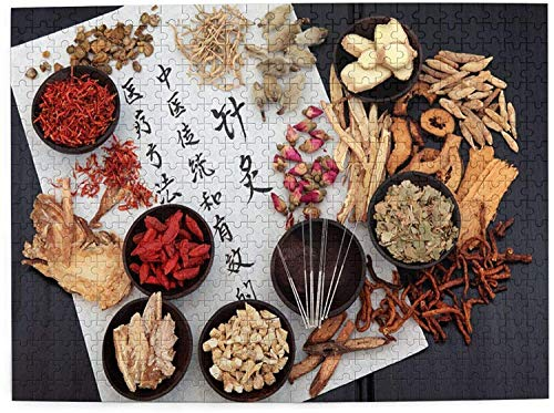 500 Pieces Art Picture Wooden Jigsaw Puzzle Chinese-Herbal-Medicine-Selection-Acupuncture-Needles Jigsaw Puzzles for Adults Teens Funny Family Game Hanging Home Decoration