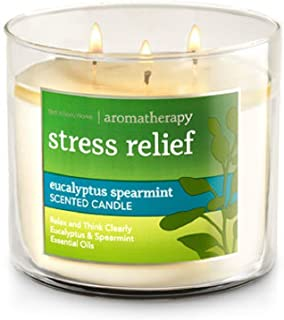 Bath and Body Works 3-wick Limited Edition Candle AROMATHERAPY COLLECTION (Stress Relief - Eucalyptus Spearmint)