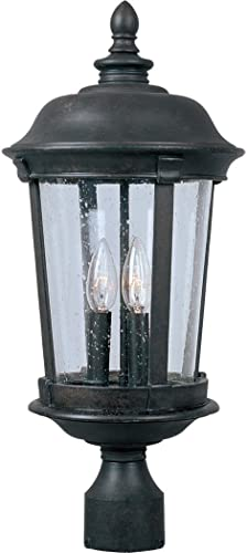 """lowest Maxim 3022CDBZ Dover DC Mediterranean Style Seedy online Glass Outdoor discount Post /Pole Mount, 3-Light 180 Total Watts, 26""""H x 12""""W, Bronze outlet sale"""