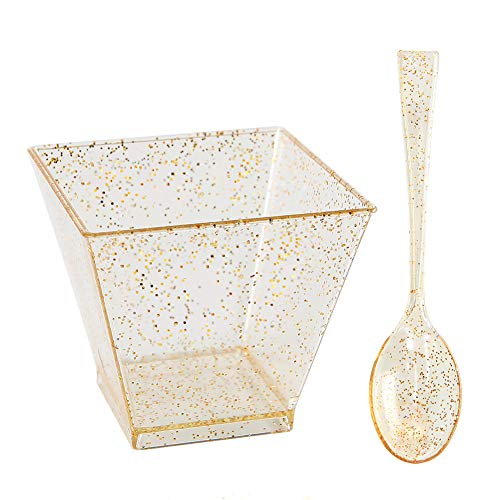 I00000 200 Pieces Small Plastic Dessert Cups with Mini Spoons Gold Glitter, Premium Quality, Includes 100 Pieces Small Disposable Square Cups 2 Oz and 100 Pieces Gold Mini Spoons