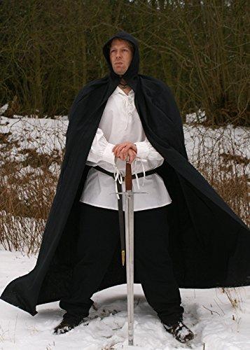 Mittelalter Umhang aus Baumwolle mit Kapuze, diverse Farben - LARP Farbe schwarz