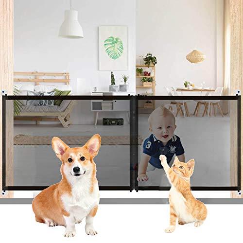 Teblacker Magic Pet Gate für Hunde, Mesh Hundegitter, Haustier Sicherheitsgitter, Tragbares Faltgitter Hundegitter, Einfach zu installieren, 210 * 71cm, Schwarz
