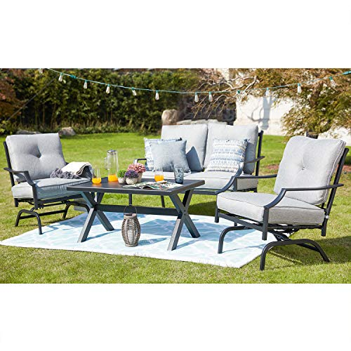 Festival Depot 4 Pieces Patio Outdoor Armchairs Loveseat Set with Coffee Table Fabric Metal Frame Furniture Garden Bistro Seating Thick Soft Cushion (4pc Patio Conversation Sets, Grey)