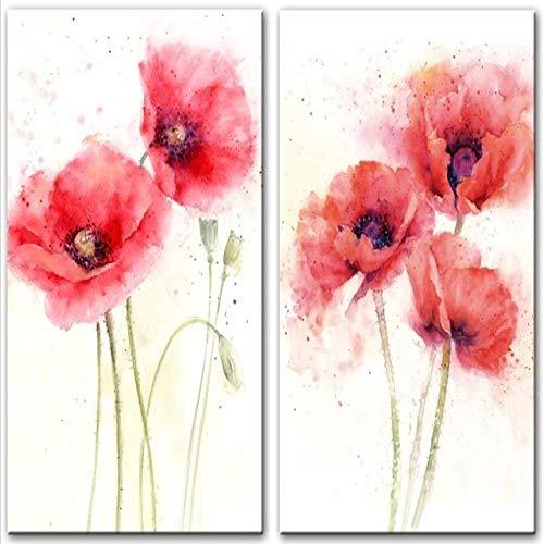 Kunstdruk op canvas met klaproms, wandposter en poster abstract, rode bloemen, voor woonkamer en kalligrafie vanaf 30 x 45 cm, zonder lijst, Two Pieces