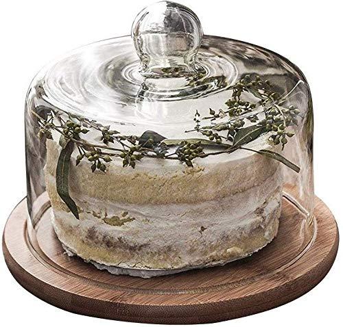 ZXL Chip & Dip Server, Bruiloft Fruit Brood Proeverij Lade Houten Snack Plaat Keuken Glas Koepel Plantaardige Bewaardeksel Cake Stands (Maat: 26 * 26 * 12CM)