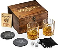 【PERFECT GIFT FOR STRONG WHISKEY FANS】- Everything a whiskey lover wants! This burnt-wood gift box contains 2 stylish glasses (10oz/300ml) + 8 granite whiskey stones + velvet storage bag + 2 slate coasters + whiskey cocktail cards. Give a legendary w...