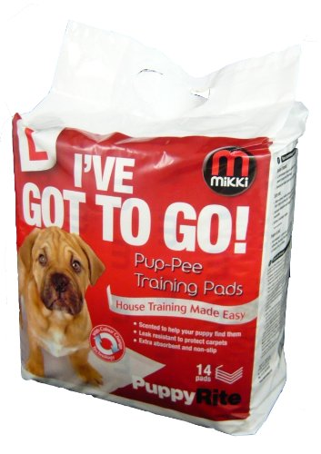 Mikki Dog and Puppy Pup-Pee Training Pads for Wee Wee House Toilet Training, Super Absorbent, 14 Pack