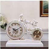 Reloj Despertador, Reloj de Estilo Europeo, Sala de Estar Mute Reloj Retro Mesa Creativa Reloj Decorativo Reloj de Bicicleta Adorno Cuarzo Reloj de Cuarzo