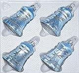 4 TLG. Glas-Glocken Set in Ice Blau Silber Komet - Christbaumkugeln - Weihnachtsschmuck-Christbaumschmuck