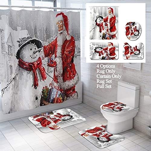 Fashion&Man Feliz Navidad Cortina Ducha Tela Cortina de Baño Antimoho Cortina de Ducha Impermeable Resistente al...