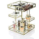 Dawoo - Organizador de maquillaje antiguo para encimera, caja de almacenamiento de cosméticos, espejo de cristal, pantalla de belleza, soporte de gran capacidad para pinceles y pintalabios