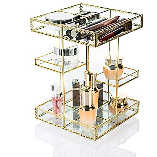 Dawoo 360-Grad-Rotation Make-up Organizer Antike Arbeitsplatte Kosmetik Aufbewahrungsbox Spiegel Glas Beauty Display, Gold Spin Großkapazitätshalter für Pinsel Lippenstifte Hautpflege Toner