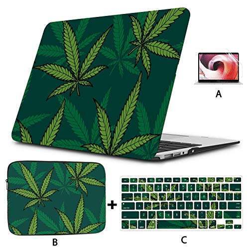 Macbook Cover 15 Inch Cannabis Marijuana Leaves Vintage Mac Book Air Covers Hard Shell Mac Air 11'/13' Pro 13'/15'/16' With Notebook Sleeve Bag For Macbook 2008-2020 Version