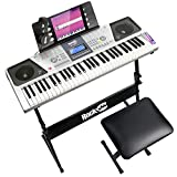 RockJam RJ661 61 Tastatur-Klavier-Kit, 61 Schlüssel-Digital-Piano, Keyboard Bench, Keyboardständer, Kopfhörer, Aufkleber Klavier Note & Einfach Piano Anwendung