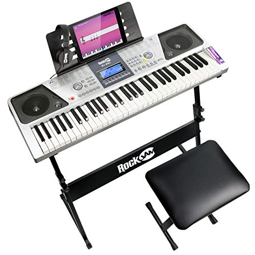 RockJam RJ661-SK 61 Keyboard Piano Kit 61 Key Digital Piano Keyboard Bench...