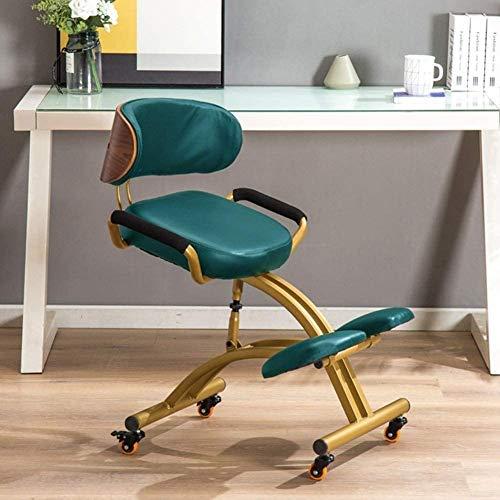 MRWW Kunstleder Ergonomische Kniend Hocker, Haltung Korrektur Kneel Stuhl, verstellbar, mit Thick bequemen Kissen,Grün