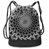 Zaini e borse,Zaini casual,Borse da palestra, Hexagon Immersion Monochrome Wallpaper Multi...