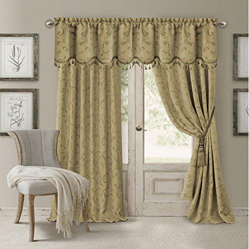 Elrene Home Fashions Rod Pocket Damask Window Valance with Tassels, 52u0022 W x 19u0022 L, Gold (1 Valance)