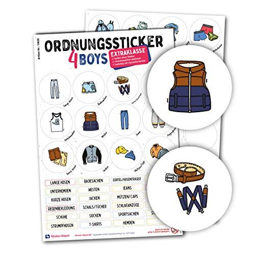 Typographus - 104 kindgerechte Aufkleber für Kleidung - Für Kleiderschränke, Boxen & Möbel - Sorgen für Ordnung im Kinderzimmer | Jungs | Ordnungssticker, Lernen, Aufbewahrung, Ordnungssystem farbig