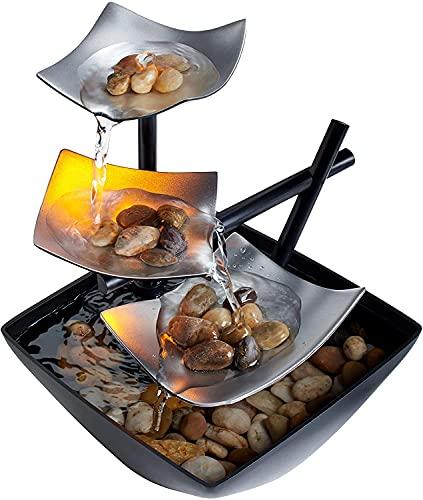 Fuente de plata, iluminada, de relajación con piedras naturales, por HoMedics WFL-SLVS Envirascape