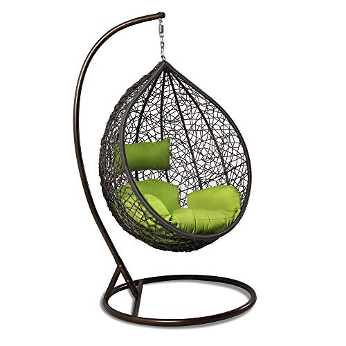 Carry Bird Swing Basket Chair with Curve Stand for Kid's and Adult,Cushion & Hook/Multi color-1Outdoor/Indoor/Balcony/Garden/Patio (Brown Swing, Green Cushion)