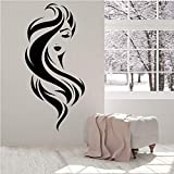 Hermosa cara chica belleza maquillaje peluquería vinilo pared calcomanía decoración del hogar arte mural extraíble pegatinas de pared 43 * 92 cm