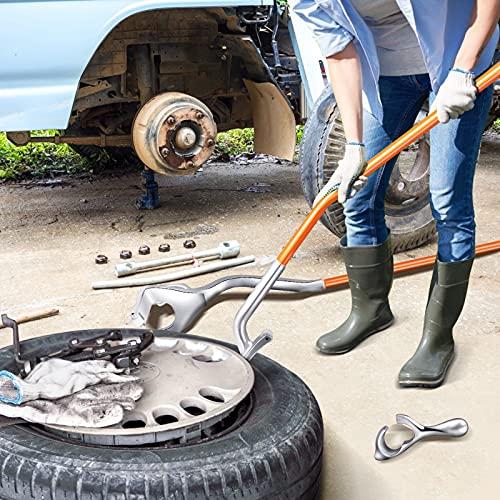 TTLIFE Herramientas para Desmontar Neumáticos, Kit De Herramientas De Desmontaje De Montaje De Neumáticos De Acero/Aluminio 17.5'a 24', para Reparación De Automóviles (Naranja)
