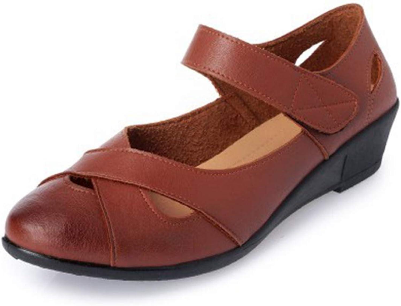 Woman's PU Closed Toe Wedge Low Heel Hook&Loop Mother Comfortable Summer Sandals