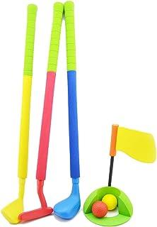 7 PCS Children Golf Set Kids Outdoor Garden Summer Fun Gift Game Toy Toddler Golf Game Toy Set with Non-Slip Handle for 3-...