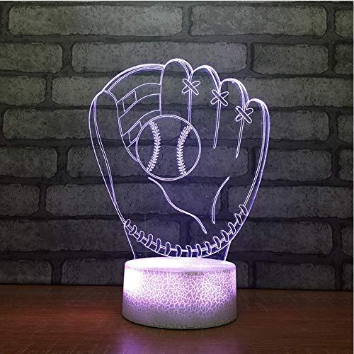 Kinder Nachtlicht Led Nachtlicht 7 Farbwechsel Usb Boy Geschenke 3D Led Baseball Handschuh Nachtlichter Tischlampe Baby Nachttischwaren Sportwaren Schlafzimmer Dekoration