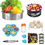3 Quart Pressure Cooker Accessories for Instant Pot 3 QT or 4 Qt Instapot, with Steamer Basket Cheesecake Pan Egg Steam Trivet Silicone Mold Mitts Tong(3 QT)