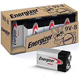 8 Pack of Energizer Max Alkaline 9V Batteries Our long lasting Max 9 Volt batteries power everyday devices like toys, flashlights, clocks, remotes, and more Holds power up to 5 years in storage, so you're never left powerless From the makers of the N...