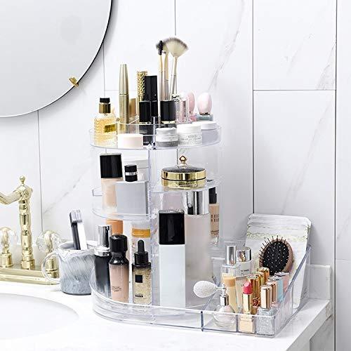 QICHENGBIN Mini Coffret à Bijoux 360 degrés de Rotation de Maquillage boîte Transparente Rouge à lèvres Multi-Fonctions de Bureau cosmétiques Plateau Boîte de Rangement (Color : Transparent)