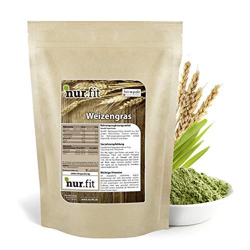 nur.fit by Nurafit Weizengras Pulver 1kg - reines Weizengras Green-Smoothie-Pulver aus schonender Herstellung ohne Zusatzstoffe – Weizengras in Rohkostqualität mit Vitaminen & Mineralstoffen