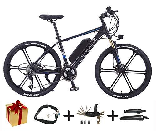XCBY E-Bike, E-Mountainbike - 27-Gang-, 26-Zoll-, 350-W-Motor, 30 Km/H, Austauschbare Lithiumbatterie, FüR Jedes GeläNde Geeignet,Herren E Bike Trekking Black-45KM