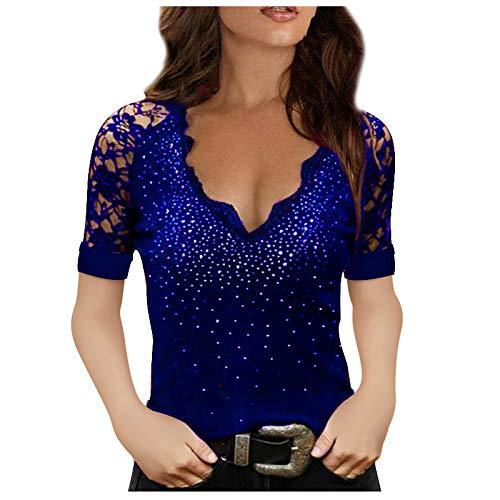 Camiseta de Mujer Encaje Sexy Diamante Caliente Escote en V Color Sólido Shirt, Casual Tallas Grandes Camiseta Blusas Tops 2021