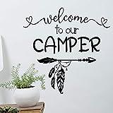 wopiaol Bienvenue à Utiliser Notre Autocollant de Camping-Car en Vinyle, Autocollant de Porte de remorque, décoration de Plume de flèche, décoration Murale de Chambre