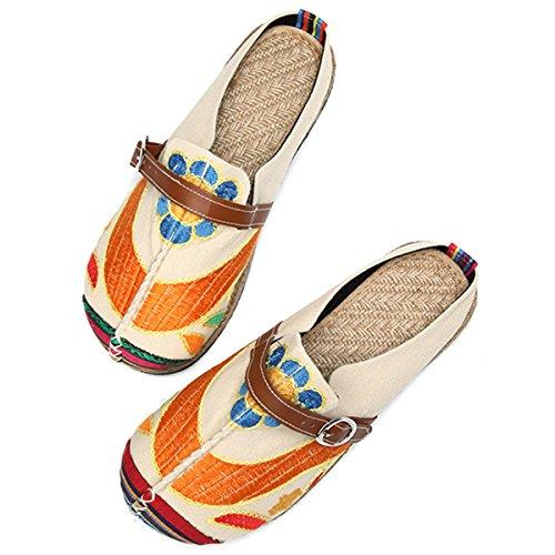 gracosy Damen Pantoletten, Flach Sommer Sandalen Stylische Hausschuhe Bunt Espadrilles Stilvoller Handgemachter Frühling Sommer Hausschuhe Lässige Ferienschuhe Sabdalen Rot