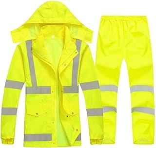 Hzjundasi Labor Protective Rainsuit - Hooded Reflective Stripes Workwear Road Control Rainwear Night Visibility Safety Rai...