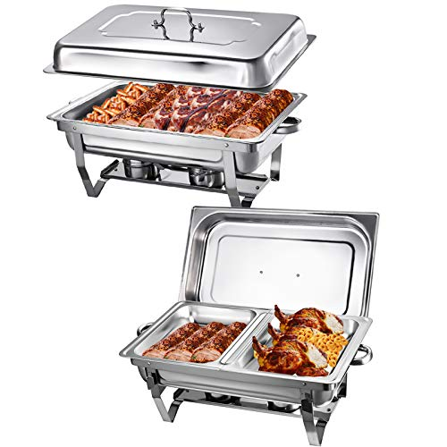 Chafing Dish Buffet Set,9Qt Chaffing Dishes Stainless Steel Chafing Dishes Commercial Food Warmer With Food Clip Buffet Warmer For Buffet Parties Restaurant Canteen (2Pack, Single Tray+Double Tray)