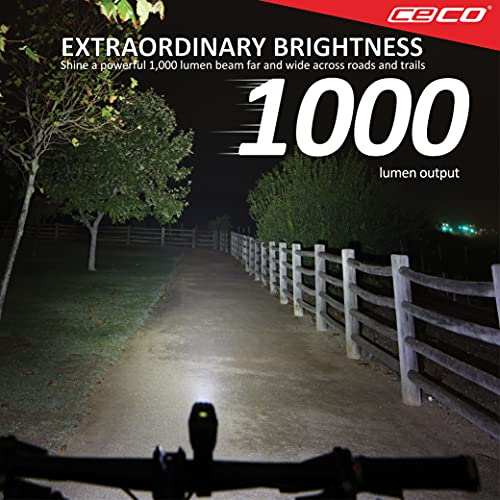 CECO-USA: 1,000 Lumen USB Rechargeable Bike Light – Tough & Durable IP67 Waterproof & FL-1 Impact Resistant– Super Bright Model F1000 Bicycle Headlight – For Commuters, Road Cyclists & Mountain Bikers