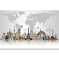 キャンバス絵画有名な建築画のポスターと版画のアトラクションマップ現代の壁の芸術の写真家の装飾-40X60cmフレームレス