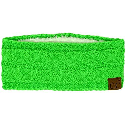 Winter CC Confetti Warm Fuzzy Fleece Lined Thick Knit Headband Headwrap Hat Cap (Neon Lime)