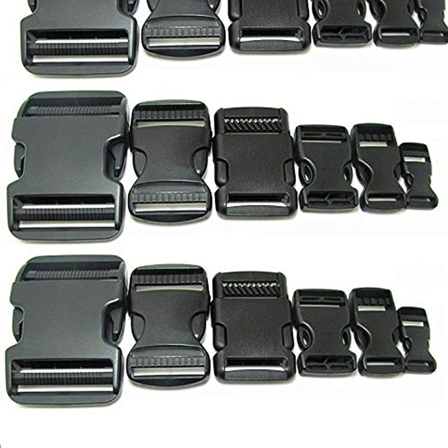 Mydio 30Pack- Flat Heavy Duty Dual Adjustable Side Release Plastic Buckles Include(0.6inch、0.79inch、0.98inch、1.26inch、1.5inch、1.97inch,Five for Each Size)