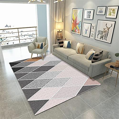 Kunsen Reglas Moderna Simple Imprimir Geometría Abstracta Salón Alfombra Alfombra Alfombra Alfombra recibidor alfombras de habitacion Pelo Corto Alfombra de Animales Rosa alfombra50X80CM